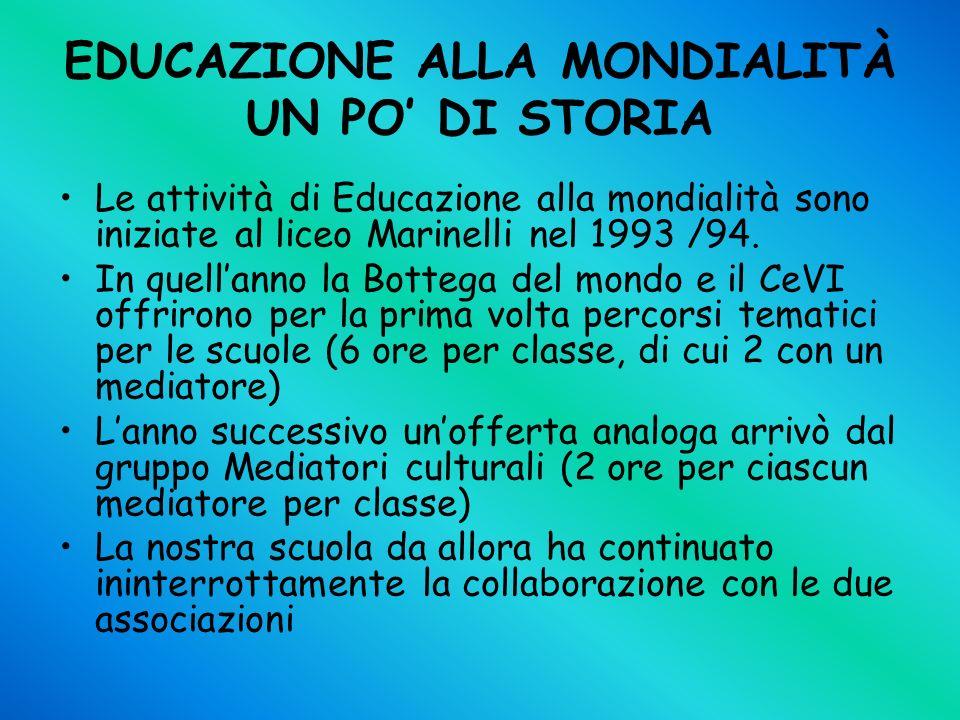 EDUCAZIONE ALLA MONDIALITÀ UN PO DI STORIA Le attività di Educazione alla mondialità sono iniziate al liceo Marinelli nel 1993 /94. In quellanno la Bo