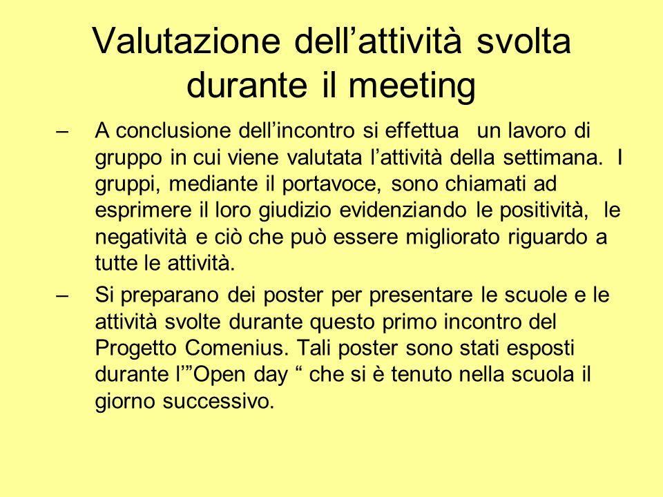 Valutazione dellattività svolta durante il meeting –A conclusione dellincontro si effettua un lavoro di gruppo in cui viene valutata lattività della settimana.