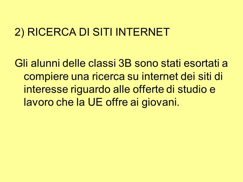 2) RICERCA DI SITI INTERNET Gli alunni delle classi 3B sono stati esortati a compiere una ricerca su internet dei siti di interesse riguardo alle offerte di studio e lavoro che la UE offre ai giovani.
