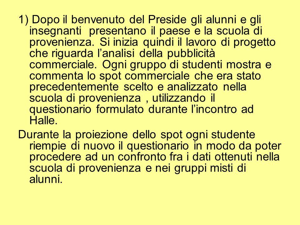 1) Dopo il benvenuto del Preside gli alunni e gli insegnanti presentano il paese e la scuola di provenienza.