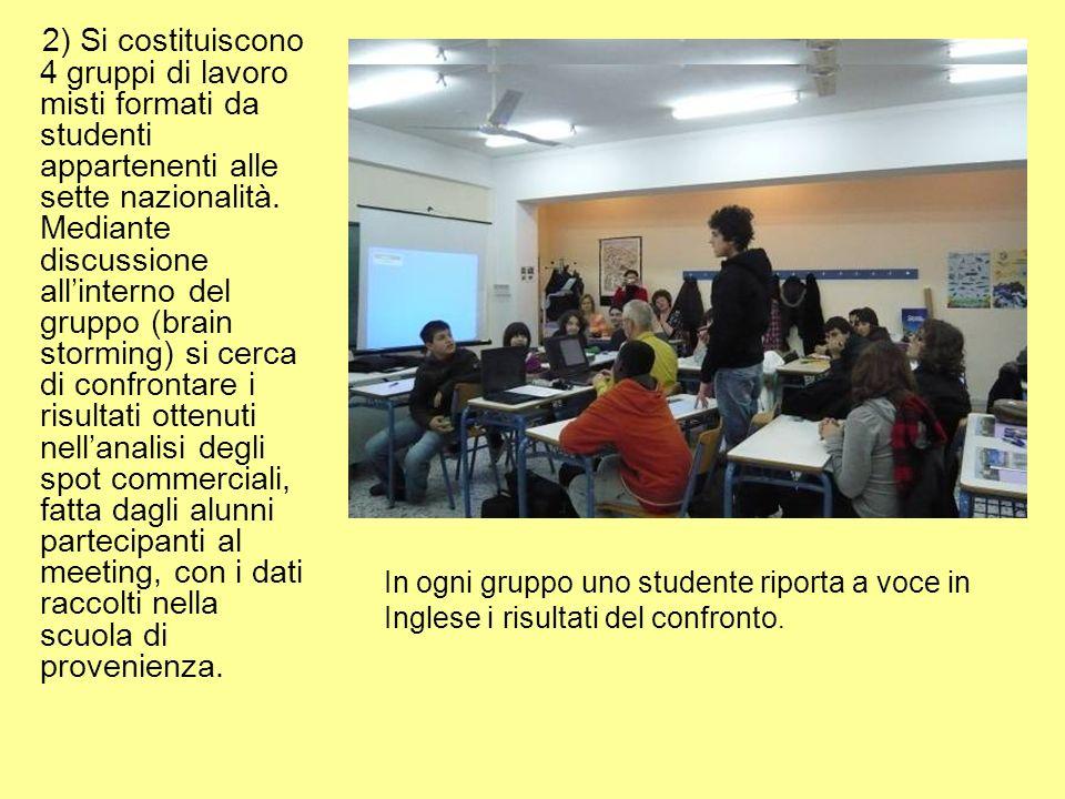 2) Si costituiscono 4 gruppi di lavoro misti formati da studenti appartenenti alle sette nazionalità.