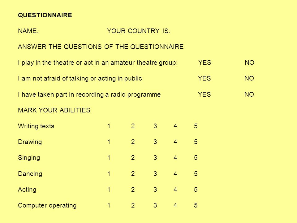 QUESTIONNAIRE NAME:YOUR COUNTRY IS: ANSWER THE QUESTIONS OF THE QUESTIONNAIRE I play in the theatre or act in an amateur theatre group: YES NO I am no