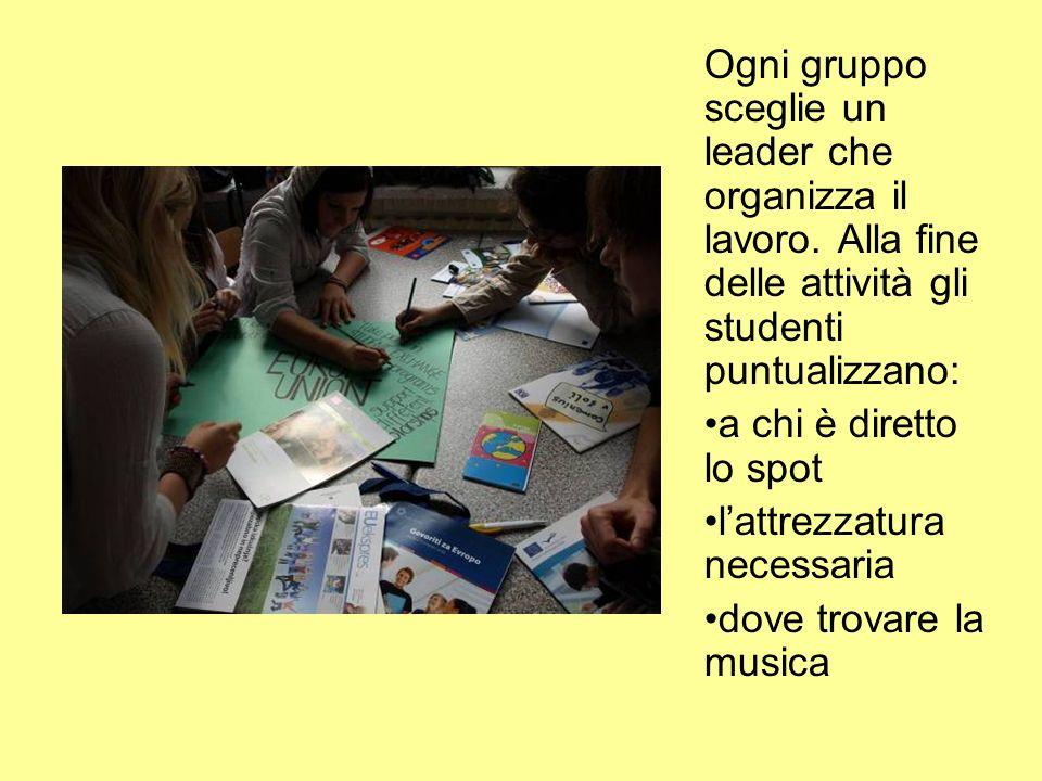 Ogni gruppo sceglie un leader che organizza il lavoro.