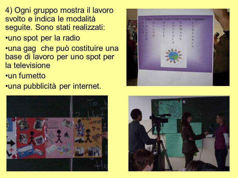 4) Ogni gruppo mostra il lavoro svolto e indica le modalità seguite.