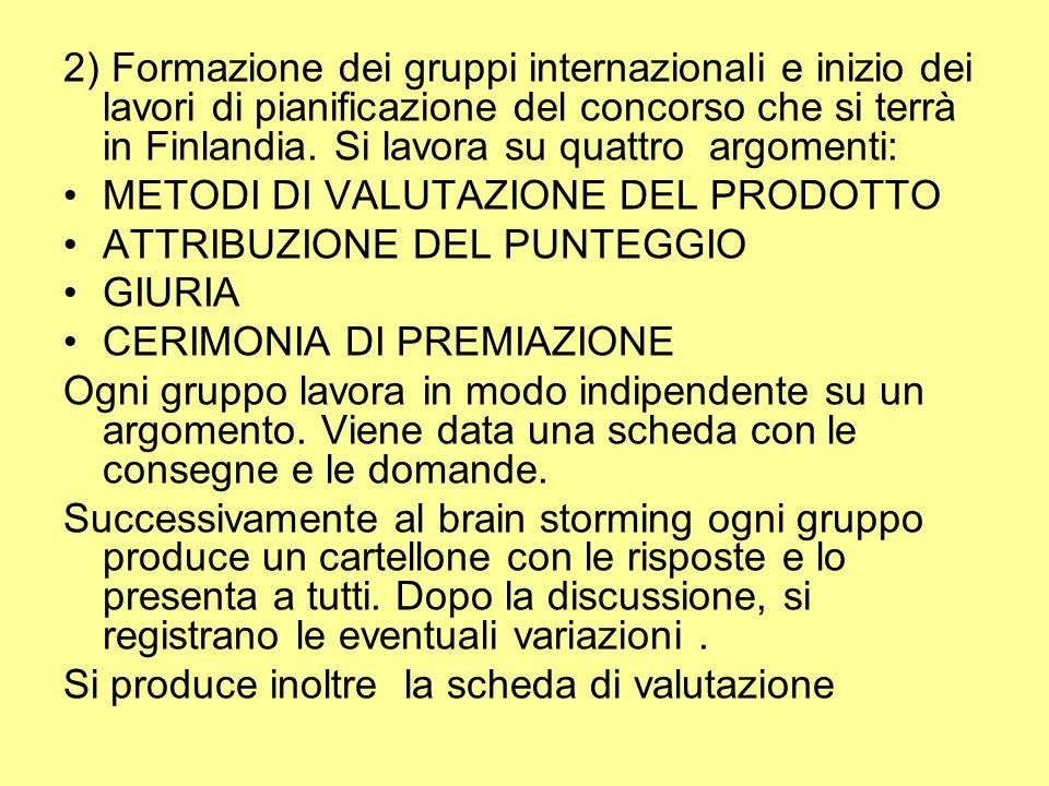 2) Formazione dei gruppi internazionali e inizio dei lavori di pianificazione del concorso che si terrà in Finlandia.
