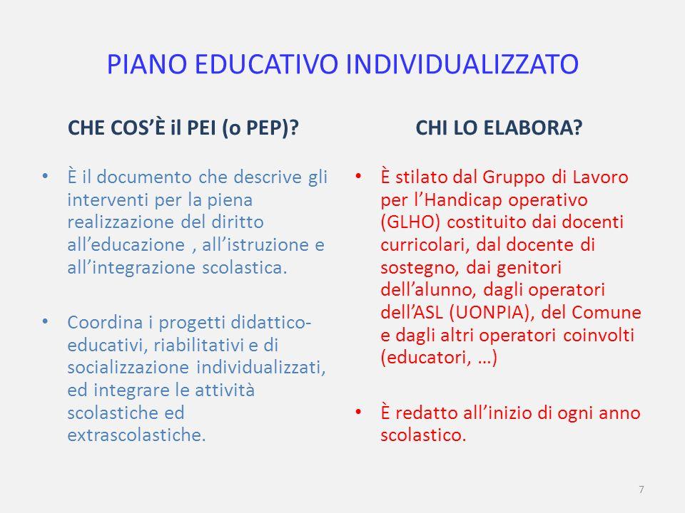 7 PIANO EDUCATIVO INDIVIDUALIZZATO CHE COSÈ il PEI (o PEP).