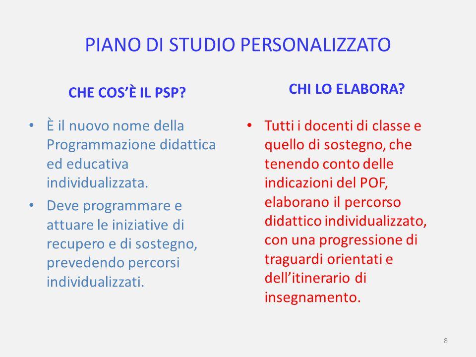 8 PIANO DI STUDIO PERSONALIZZATO CHE COSÈ IL PSP.