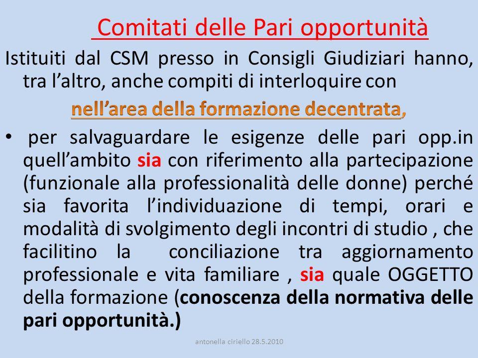 Comitati delle Pari opportunità antonella ciriello 28.5.2010