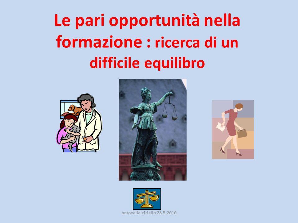 Le pari opportunità nella formazione : ricerca di un difficile equilibro antonella ciriello 28.5.2010