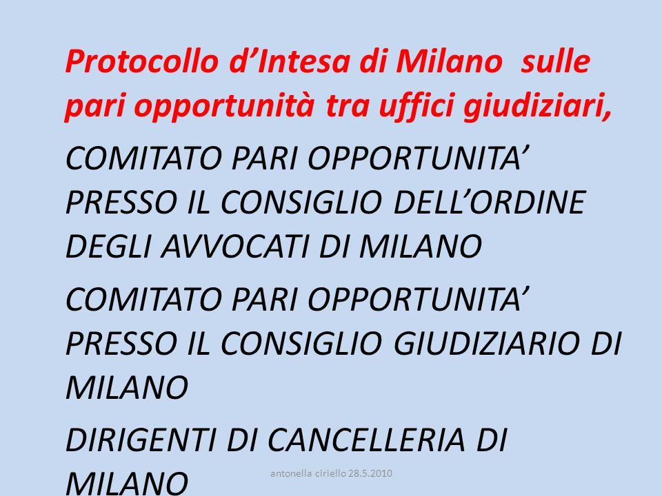 Protocollo dIntesa di Milano sulle pari opportunità tra uffici giudiziari, COMITATO PARI OPPORTUNITA PRESSO IL CONSIGLIO DELLORDINE DEGLI AVVOCATI DI