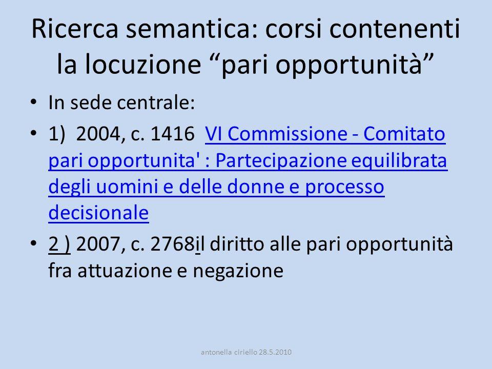 Ricerca semantica: corsi contenenti la locuzione pari opportunità In sede centrale: 1) 2004, c. 1416 VI Commissione - Comitato pari opportunita' : Par