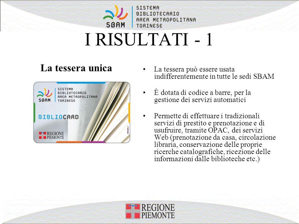 I RISULTATI - 1 La tessera può essere usata indifferentemente in tutte le sedi SBAM È dotata di codice a barre, per la gestione dei servizi automatici