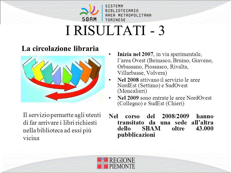 I RISULTATI - 3 Inizia nel 2007, in via sperimentale, larea Ovest (Beinasco, Bruino, Giaveno, Orbassano, Piossasco, Rivalta, Villarbasse, Volvera) Nel