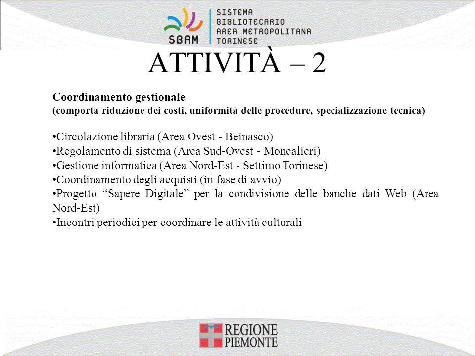 ATTIVITÀ – 2 Coordinamento gestionale (comporta riduzione dei costi, uniformità delle procedure, specializzazione tecnica) Circolazione libraria (Area