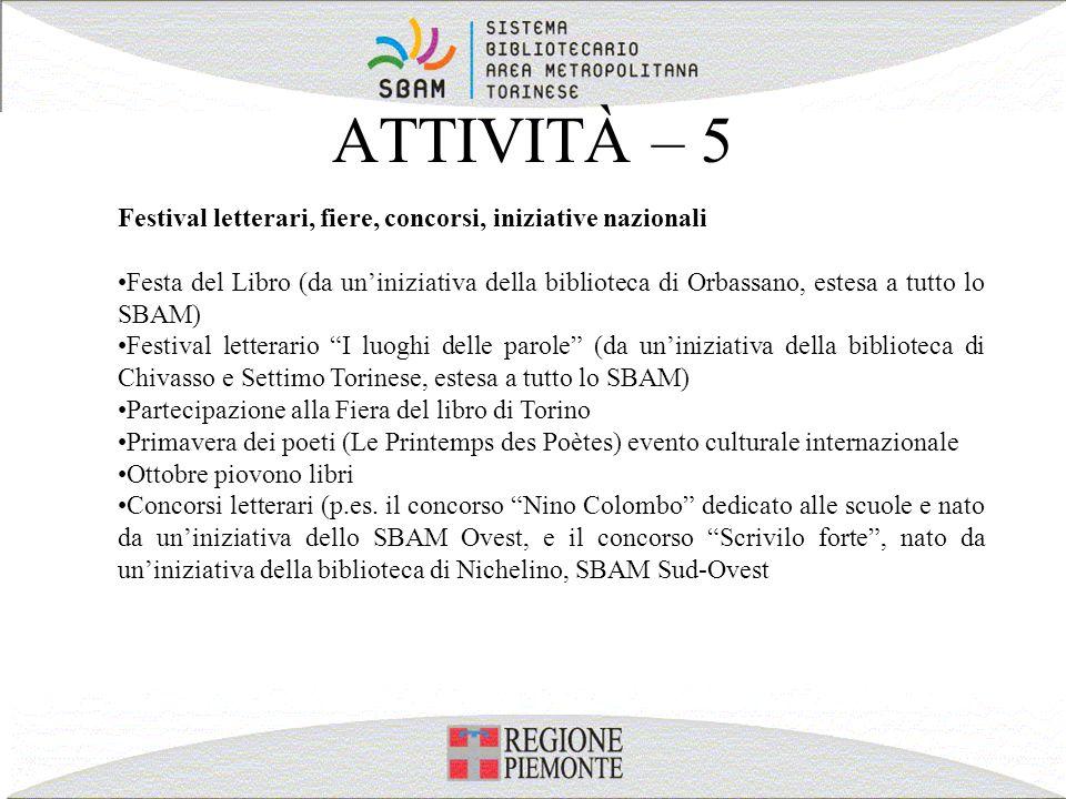 ATTIVITÀ – 5 Festival letterari, fiere, concorsi, iniziative nazionali Festa del Libro (da uniniziativa della biblioteca di Orbassano, estesa a tutto