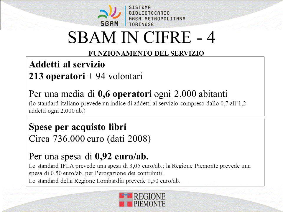 SBAM IN CIFRE - 4 FUNZIONAMENTO DEL SERVIZIO Addetti al servizio 213 operatori + 94 volontari Per una media di 0,6 operatori ogni 2.000 abitanti (lo s