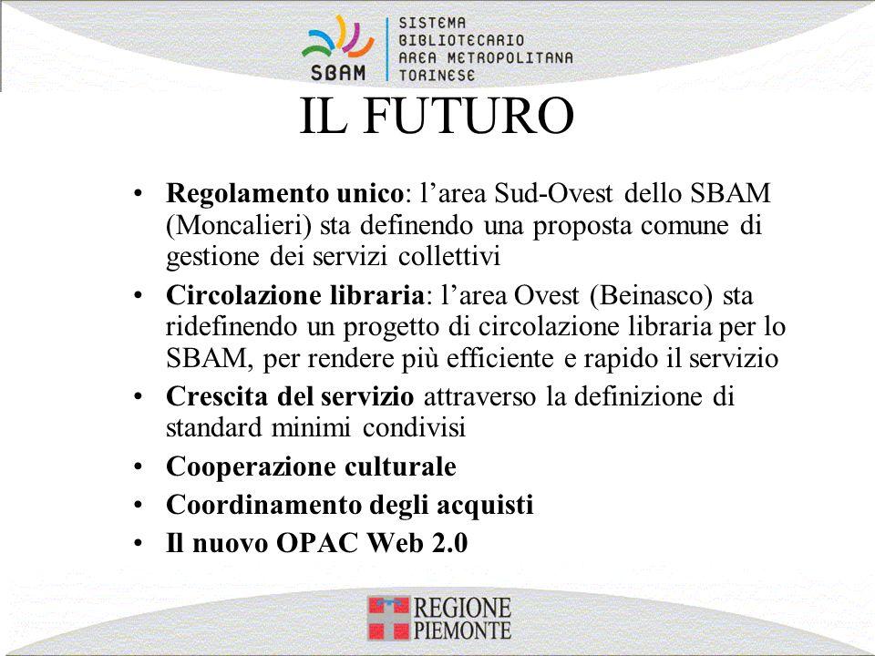 IL FUTURO Regolamento unico: larea Sud-Ovest dello SBAM (Moncalieri) sta definendo una proposta comune di gestione dei servizi collettivi Circolazione