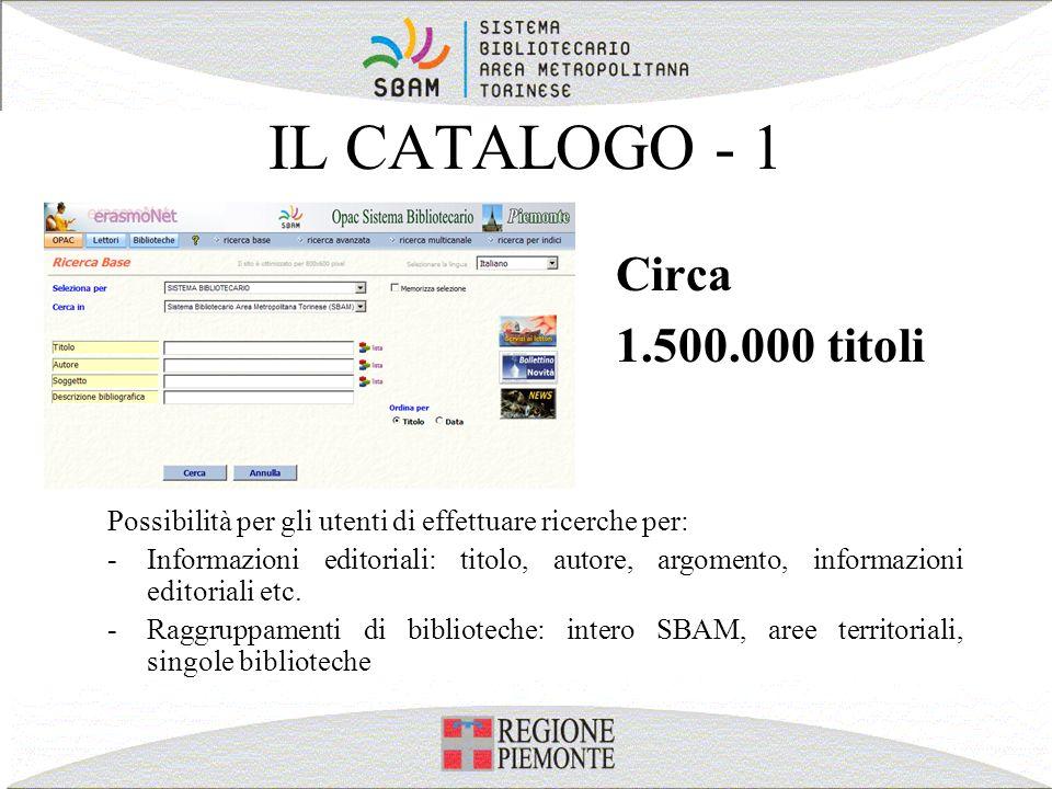 IL CATALOGO - 1 Circa 1.500.000 titoli Possibilità per gli utenti di effettuare ricerche per: -Informazioni editoriali: titolo, autore, argomento, inf