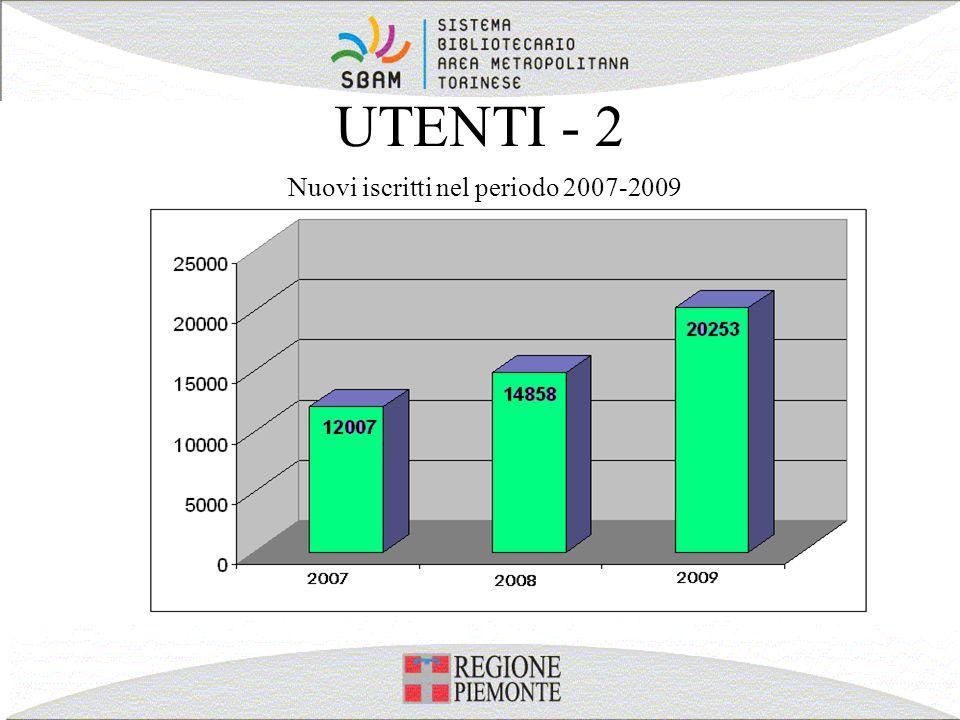 UTENTI - 2 Nuovi iscritti nel periodo 2007-2009
