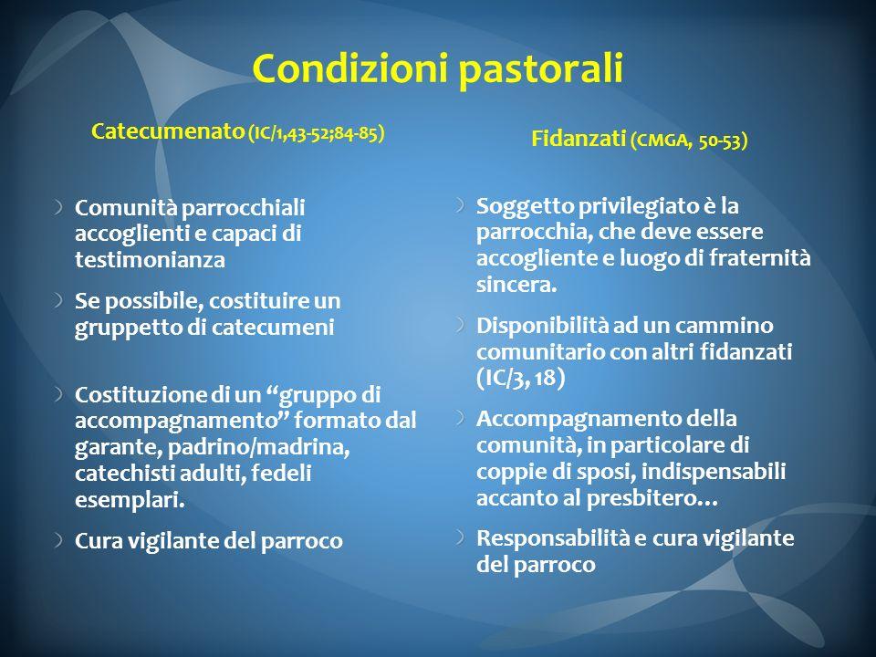 Condizioni pastorali Catecumenato (IC/1,43-52;84-85) Comunità parrocchiali accoglienti e capaci di testimonianza Se possibile, costituire un gruppetto