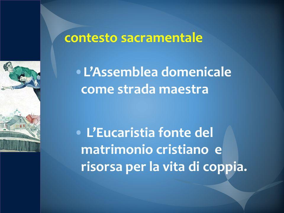 contesto sacramentale LAssemblea domenicale come strada maestra LEucaristia fonte del matrimonio cristiano e risorsa per la vita di coppia.