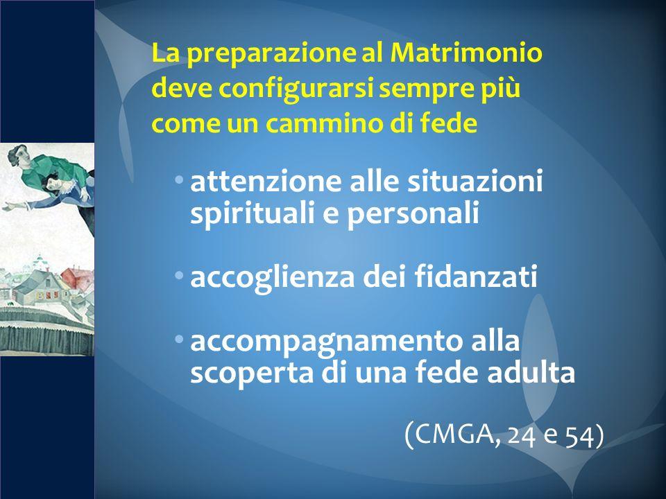 La preparazione al Matrimonio deve configurarsi sempre più come un cammino di fede attenzione alle situazioni spirituali e personali accoglienza dei f