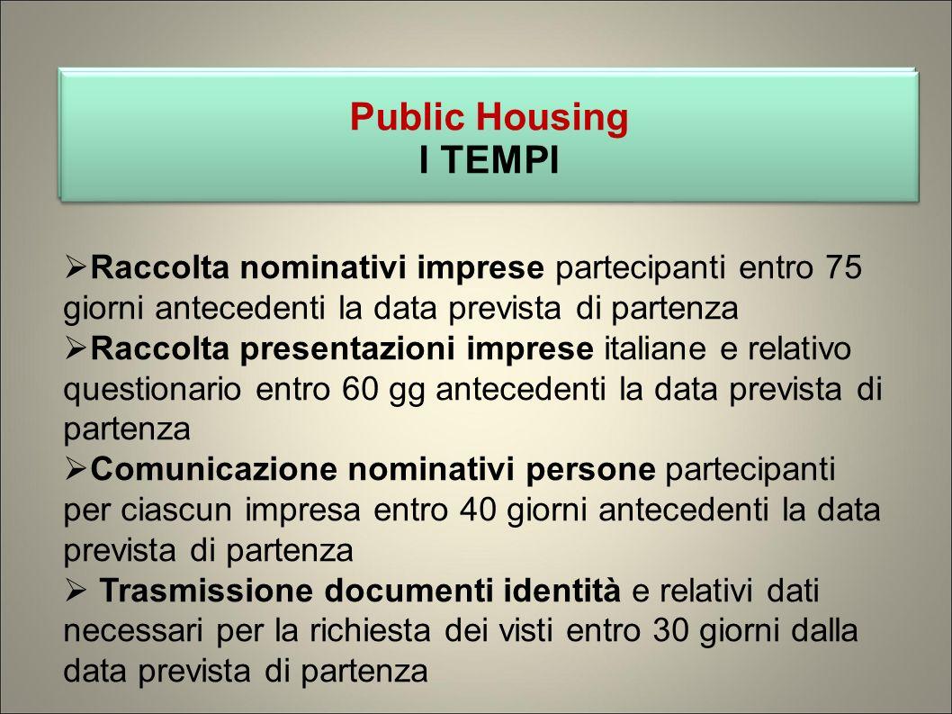 Public Housing I TEMPI Public Housing I TEMPI Raccolta nominativi imprese partecipanti entro 75 giorni antecedenti la data prevista di partenza Raccol
