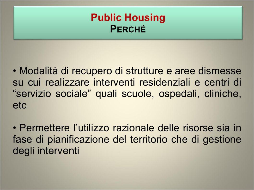 Modalità di recupero di strutture e aree dismesse su cui realizzare interventi residenziali e centri di servizio sociale quali scuole, ospedali, clini