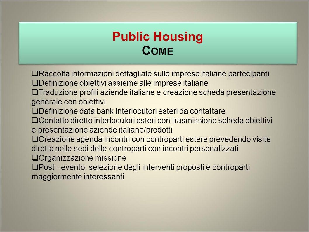 Public Housing C OME Public Housing C OME Raccolta informazioni dettagliate sulle imprese italiane partecipanti Definizione obiettivi assieme alle imp