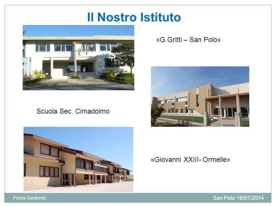 Il Nostro Istituto «G.Gritti – San Polo» Scuola Sec. Cimadolmo «Giovanni XXIII- Ormelle» San Polo 16/01/2014 Paola Gardenal
