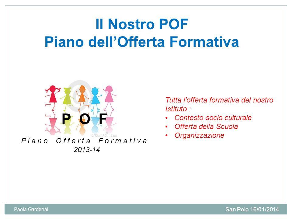 Il Nostro POF Piano dellOfferta Formativa P O F P i a n o O f f e r t a F o r m a t i v a 2013-14 Tutta lofferta formativa del nostro Istituto : Conte