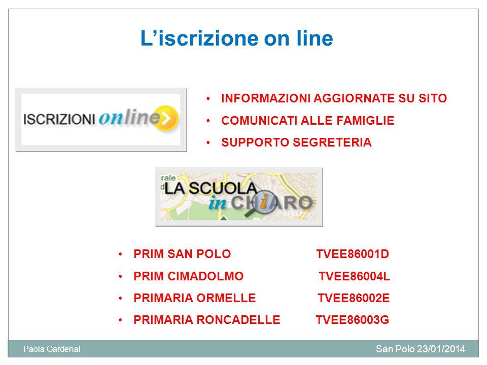 Liscrizione on line INFORMAZIONI AGGIORNATE SU SITO COMUNICATI ALLE FAMIGLIE SUPPORTO SEGRETERIA San Polo 23/01/2014 Paola Gardenal PRIM SAN POLO TVEE86001D PRIM CIMADOLMO TVEE86004L PRIMARIA ORMELLE TVEE86002E PRIMARIA RONCADELLE TVEE86003G