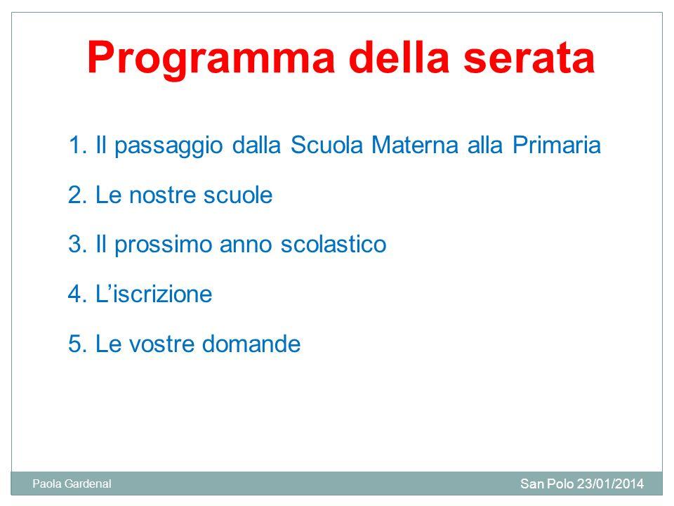 Programma della serata 1.Il passaggio dalla Scuola Materna alla Primaria 2.