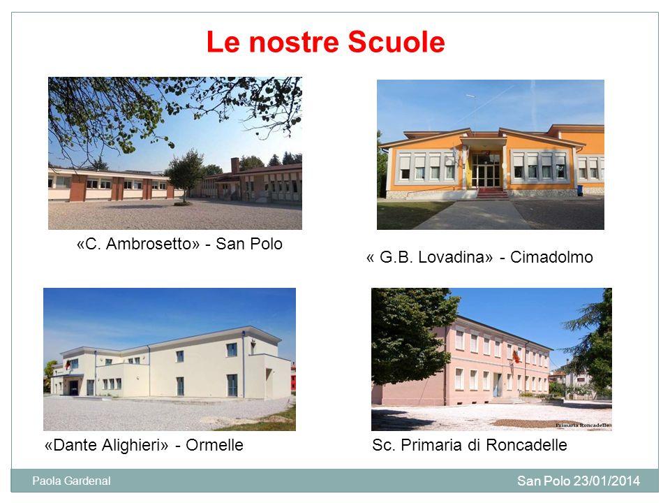 Le nostre Scuole «C. Ambrosetto» - San Polo « G.B. Lovadina» - Cimadolmo «Dante Alighieri» - Ormelle San Polo 23/01/2014 Paola Gardenal Sc. Primaria d