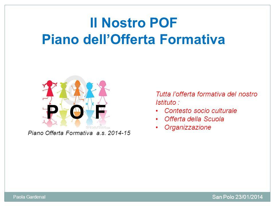 Il Nostro POF Piano dellOfferta Formativa P O F Tutta lofferta formativa del nostro Istituto : Contesto socio culturale Offerta della Scuola Organizza