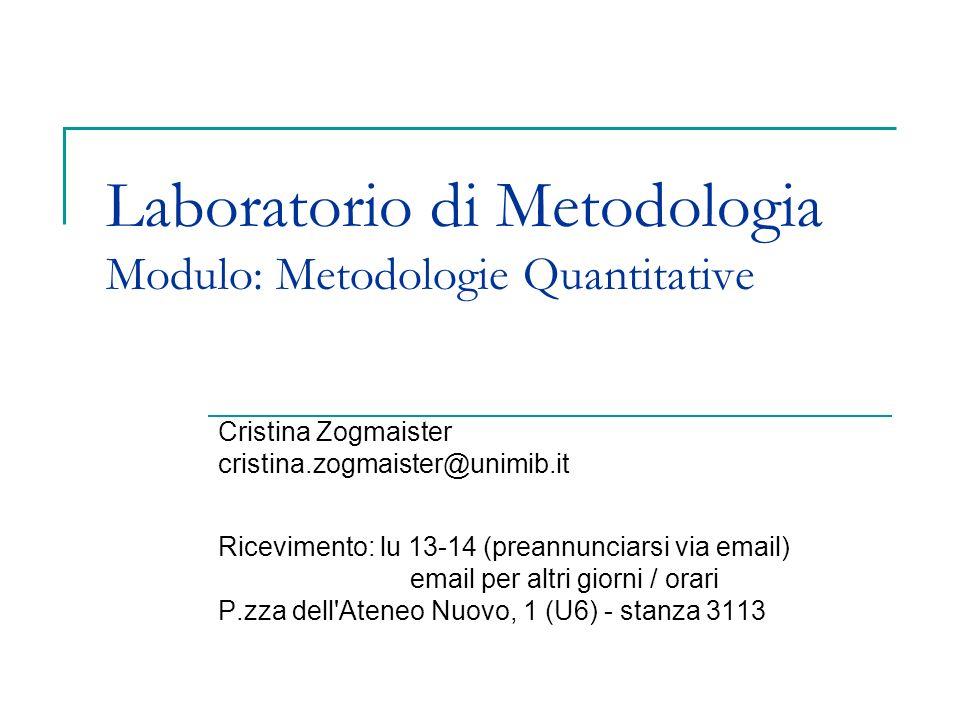 Laboratorio di Metodologia Modulo: Metodologie Quantitative Cristina Zogmaister cristina.zogmaister@unimib.it Ricevimento: lu 13-14 (preannunciarsi vi