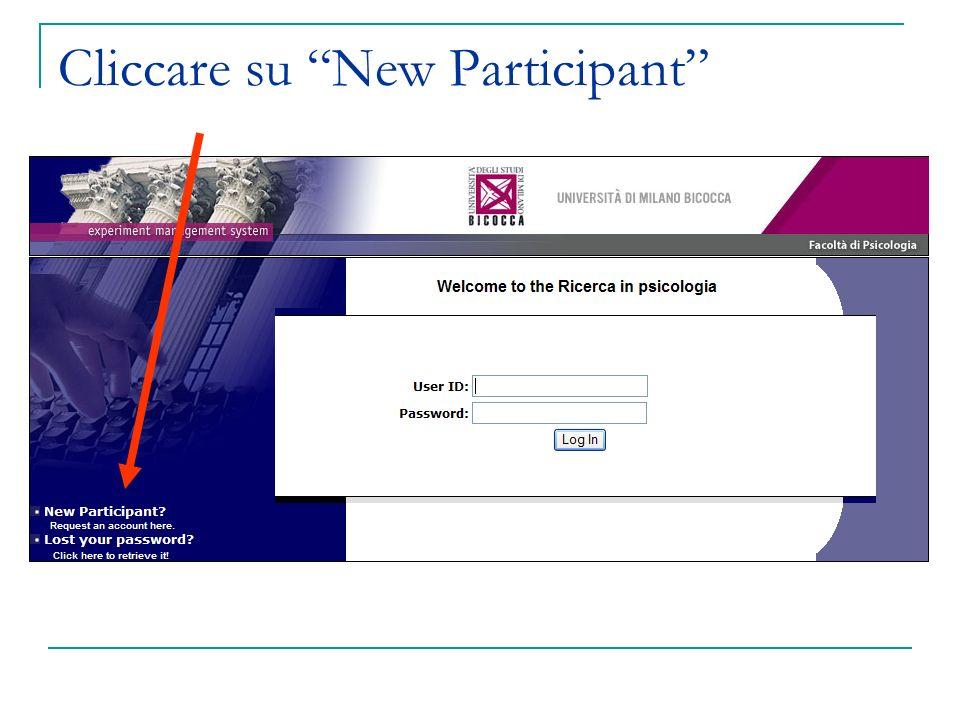 Cliccare su New Participant