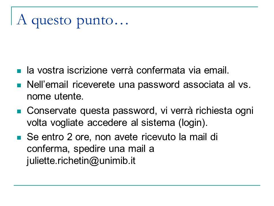 A questo punto… la vostra iscrizione verrà confermata via email. Nellemail riceverete una password associata al vs. nome utente. Conservate questa pas