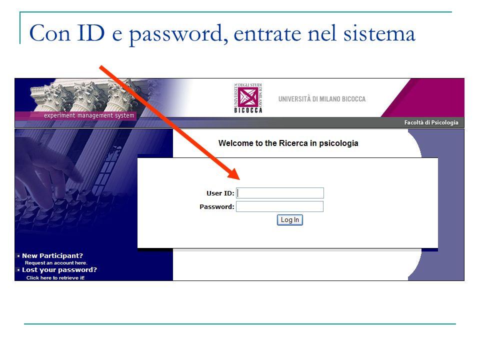 Con ID e password, entrate nel sistema