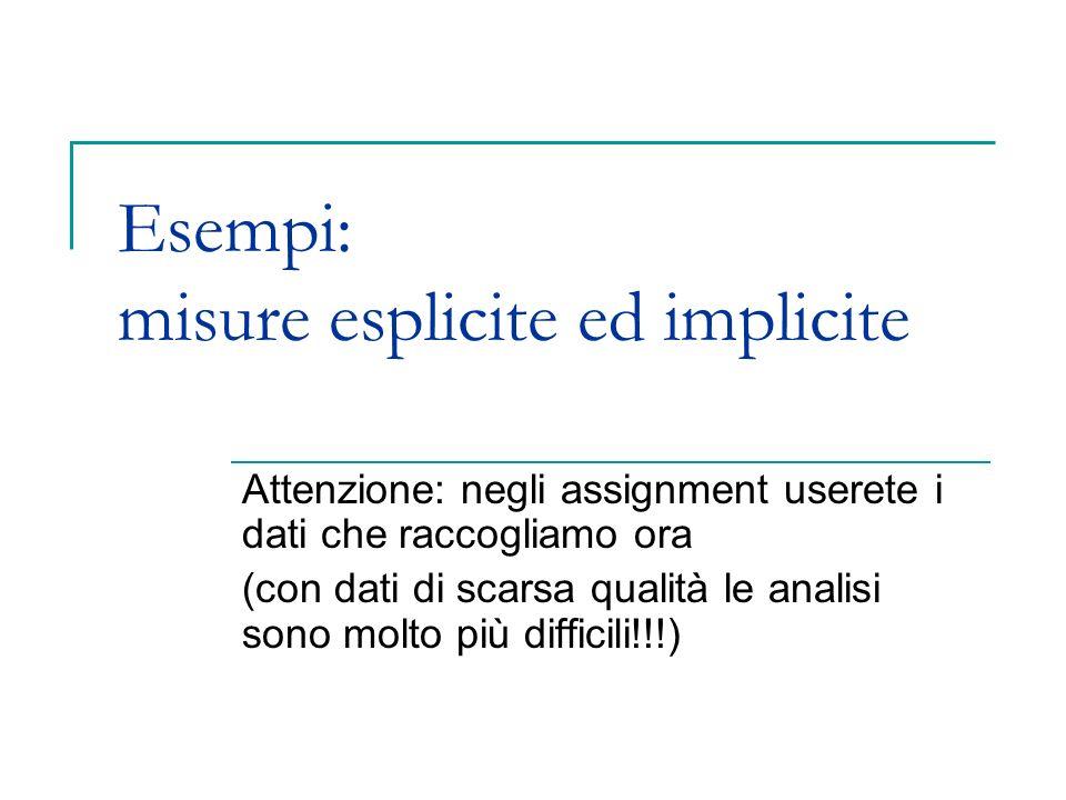 Esempi: misure esplicite ed implicite Attenzione: negli assignment userete i dati che raccogliamo ora (con dati di scarsa qualità le analisi sono molt