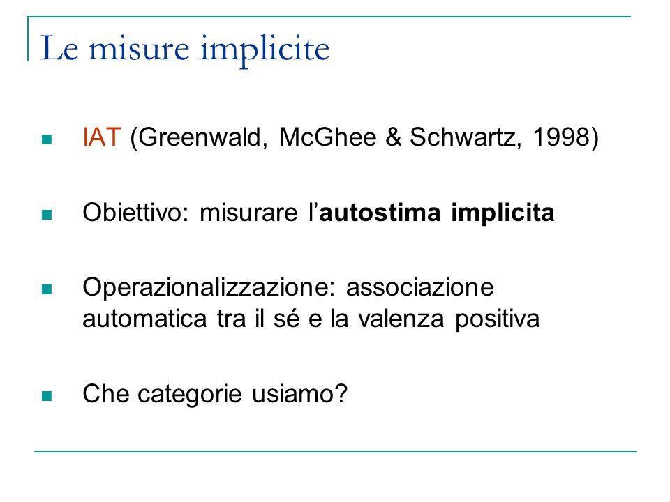 Le misure implicite IAT (Greenwald, McGhee & Schwartz, 1998) Obiettivo: misurare lautostima implicita Operazionalizzazione: associazione automatica tr