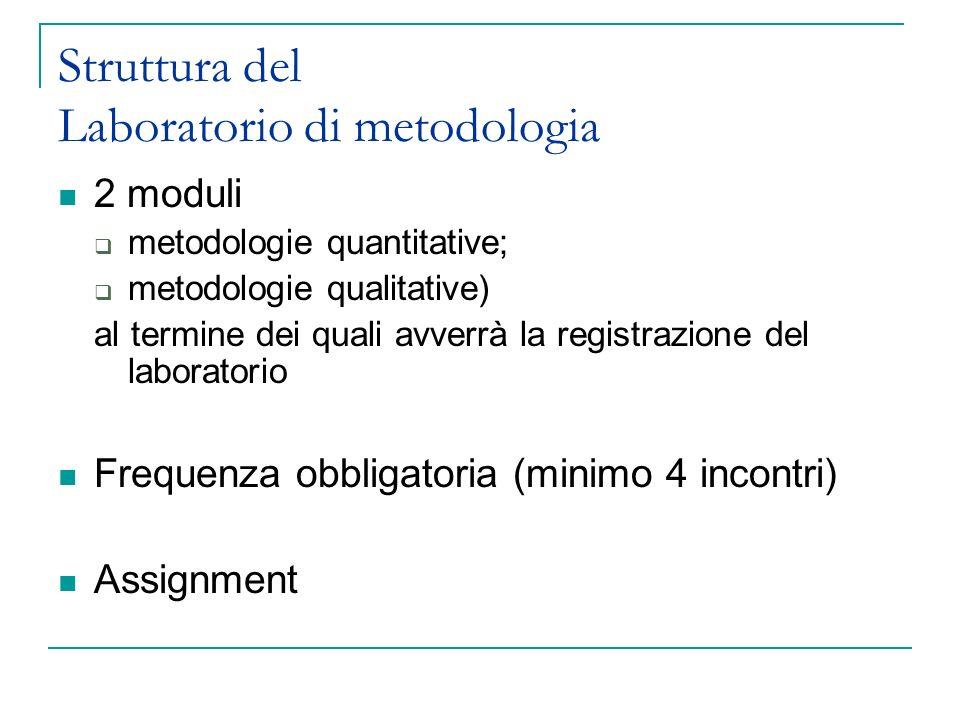 Struttura del Laboratorio di metodologia 2 moduli metodologie quantitative; metodologie qualitative) al termine dei quali avverrà la registrazione del