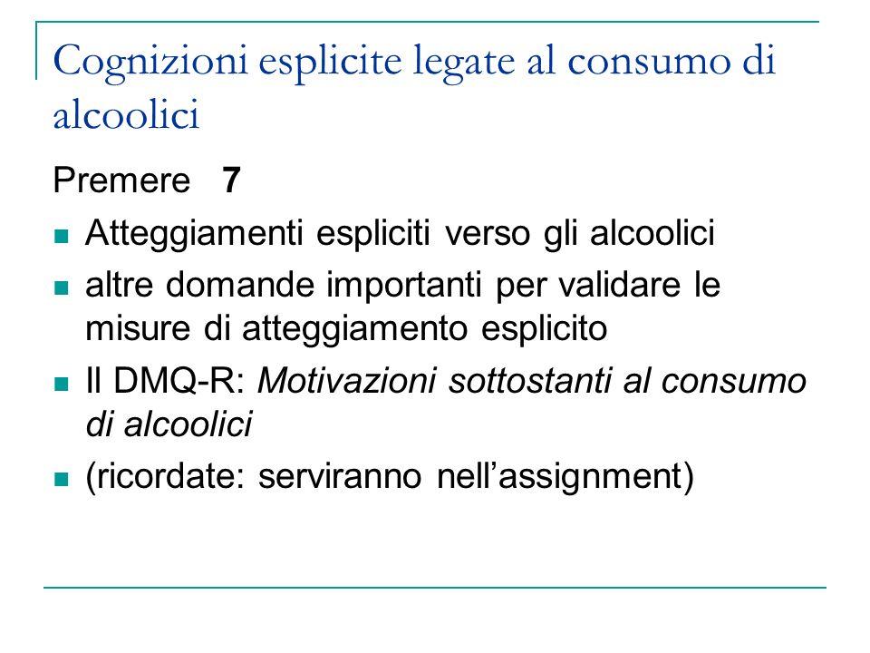 Cognizioni esplicite legate al consumo di alcoolici Premere 7 Atteggiamenti espliciti verso gli alcoolici altre domande importanti per validare le mis