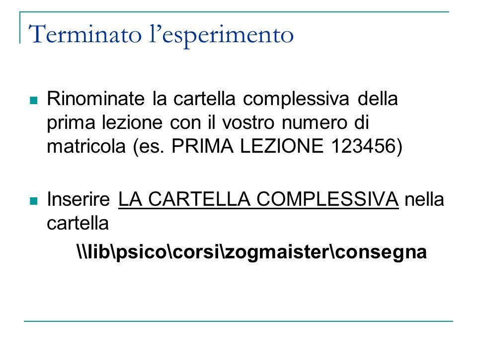 Terminato lesperimento Rinominate la cartella complessiva della prima lezione con il vostro numero di matricola (es. PRIMA LEZIONE 123456) Inserire LA