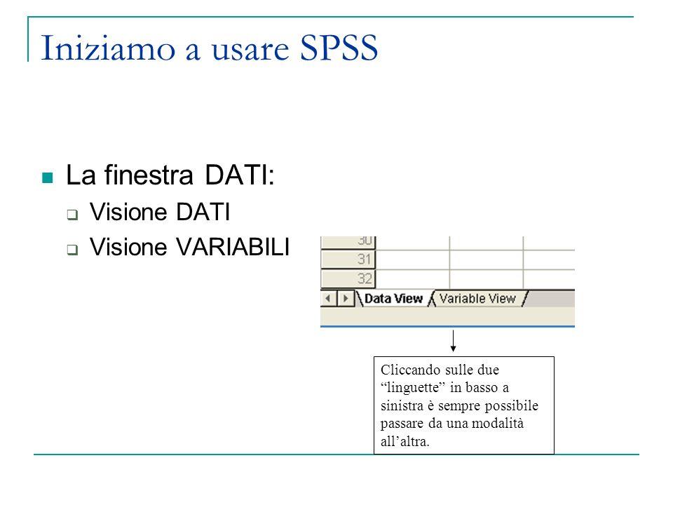 Iniziamo a usare SPSS La finestra DATI: Visione DATI Visione VARIABILI Cliccando sulle due linguette in basso a sinistra è sempre possibile passare da