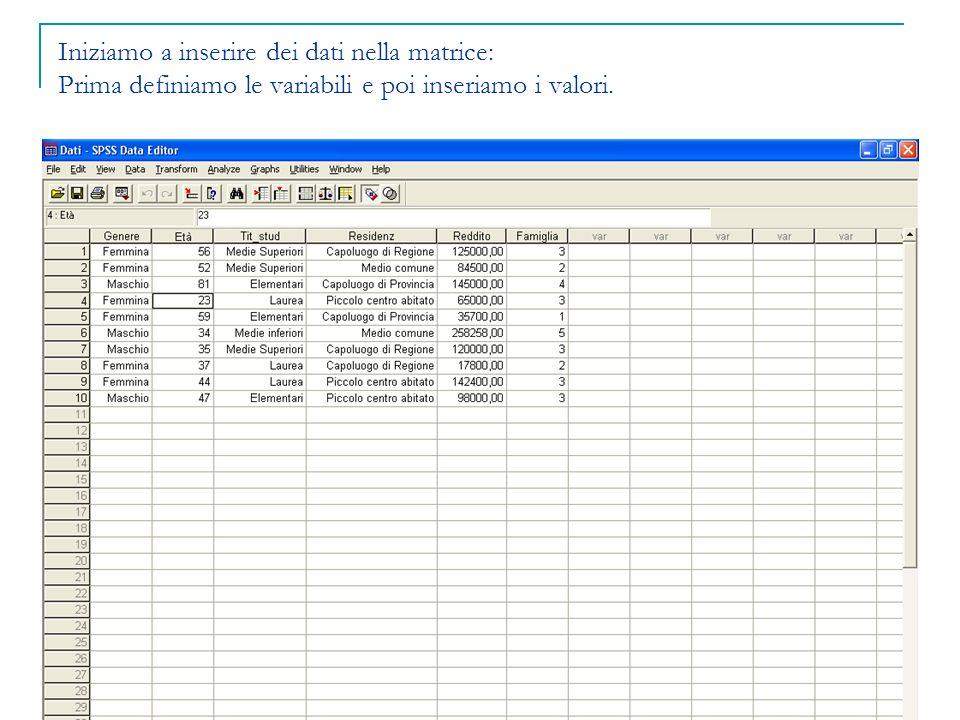 Iniziamo a inserire dei dati nella matrice: Prima definiamo le variabili e poi inseriamo i valori.