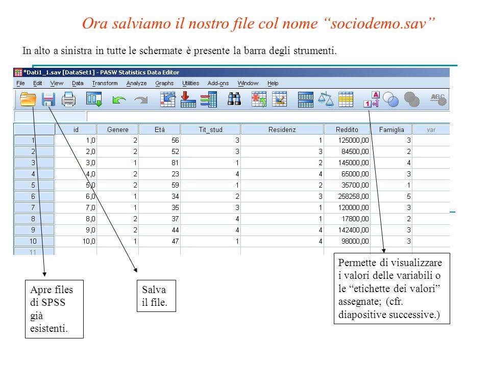 In alto a sinistra in tutte le schermate è presente la barra degli strumenti. Apre files di SPSS già esistenti. Salva il file. Permette di visualizzar