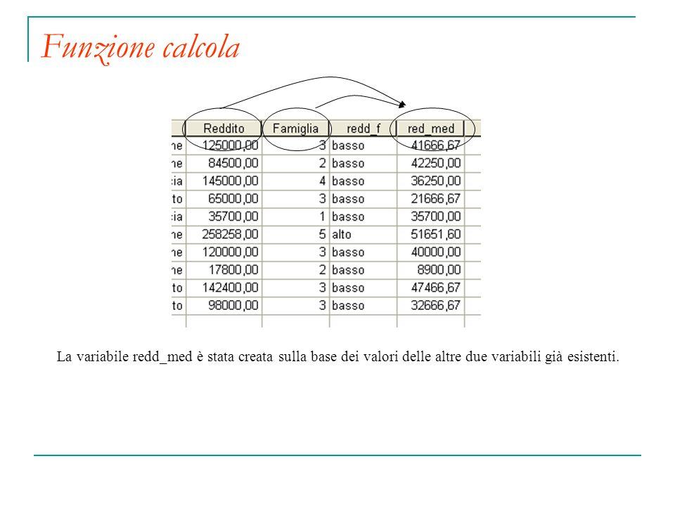 Funzione calcola La variabile redd_med è stata creata sulla base dei valori delle altre due variabili già esistenti.