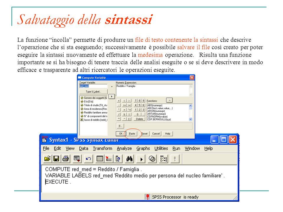 Salvataggio della sintassi La funzione incolla permette di produrre un file di testo contenente la sintassi che descrive loperazione che si sta esegue