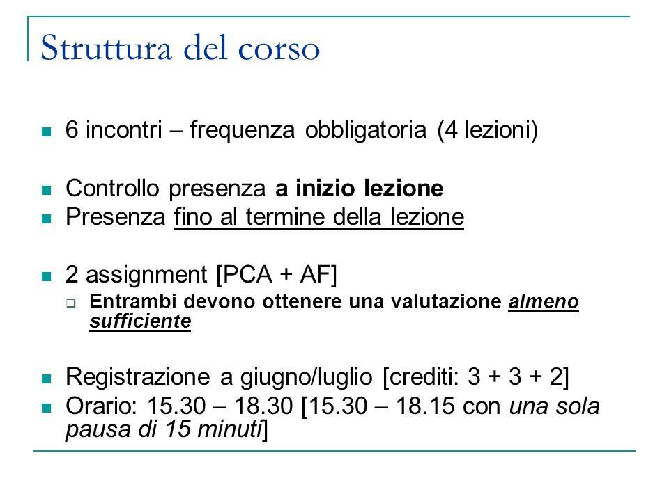 Struttura del corso 6 incontri – frequenza obbligatoria (4 lezioni) Controllo presenza a inizio lezione Presenza fino al termine della lezione 2 assig